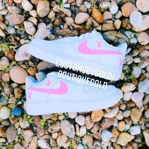 Customs Nike Air force 1 PLAYBOY White and pink